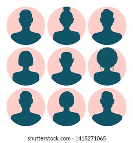 Set of silhouette avatar profile pictures isolated on pink round backgrounds. Vector illustration