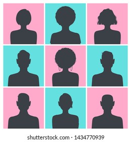 Set of silhouette avatar profile pictures isolated on blue and pink square backgrounds. Vector illustration