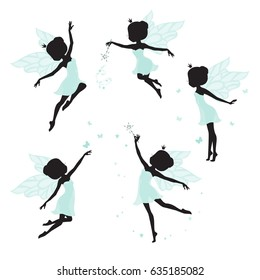 Set of silhouette of beautiful fairy. Hand drawn, isolated on white background.