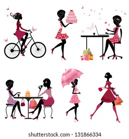 Set of silhouette of beautiful girls on vacation