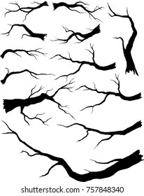 Set of silhouette branches