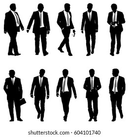 Set silhouette businessman man in suit with tie on a white background. Vector illustration.