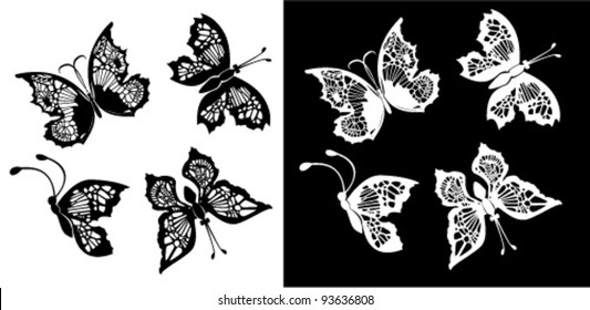 Set of silhouette butterflies collection on white and black backgrounds