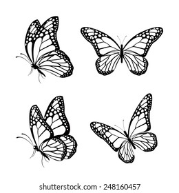 Set of Silhouette Butterflies Isolated for Spring. Editable Vector Illustration
