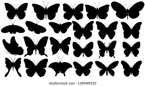 set, silhouette butterfly