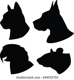 Set of silhouette cat, dog,rat,parrot heads