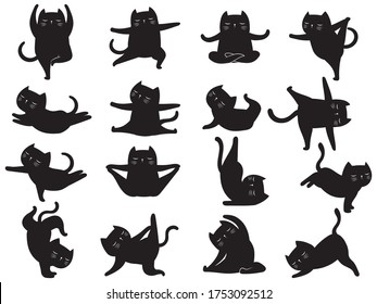 Set of silhouette cat yoga. Collection of various kitten yoga poses and exercises. Humorous pet. Black or white illustration of funny pets.