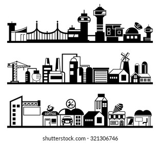 set of silhouette cityscapes, skyscraper set