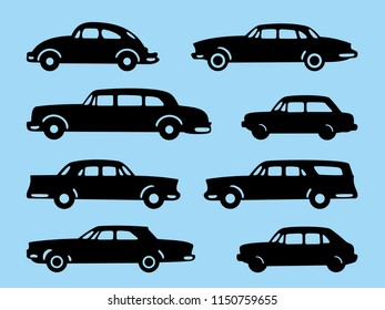 Set of silhouette of a classic car