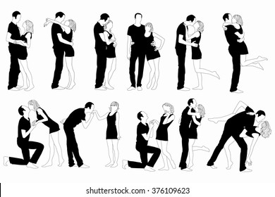 Set of silhouette couple man and woman in love black on white background.