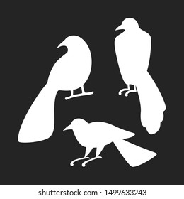 Set of silhouette of crow. Spooky bird collection for halloween. White raven. Isolated vector illustration in flat style