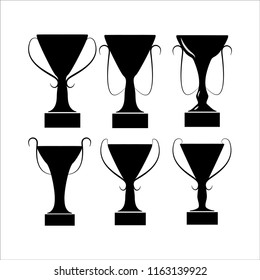Set silhouette cup award. Modern symbol of victory, award achievement sport. Insignia ceremony awarding of winner tournament. Monochrome template for badge, tag. Design element. Vector illustration