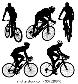 Set silhouette of a cyclist male.  vector illustration.