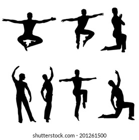 set silhouette of a dancer on a white background vector