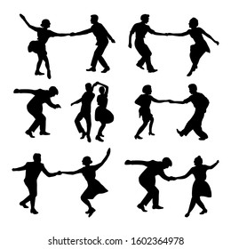 Set silhouette dancing people in a retro swing isolated. People in 40s or 50s style dancing rockabilly,charleston, jazz,lindy hop or boogie woogie. Vector human illustration in black and white colors.