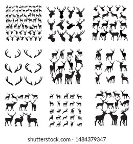 Set of silhouette deer. Collection of silhouettes of wild animals isolated on white. Vector illustration.