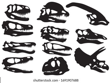 Set of silhouette dinosaur skull. Сollection of various head dinosaurs of herbivores and carnivores. Museum piece. Vector illustration of a prehistoric creature on a white background.