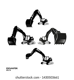 set of silhouette excavator logo designs template vector illustration