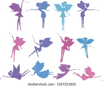 Set of silhouette fairies in cartoon style vector illustration isolated. Stencil fairy vector set. Collection of silhouette fairies with a magic wand fairy sitting, fairy standing, fairy flying.