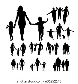Set Silhouette of a family with children by the hand. Vector.