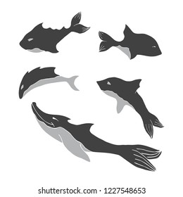 Set of silhouette fantastic cartoon fishes