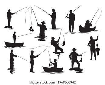 Set of silhouette fisherman. Collection of fishing man on the waves and of the boat. Emblem for fishing clubs. Vector illustration of sport hobby on white background.
