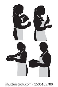set silhouette of girl in apron with kitchen utensils vector illustration