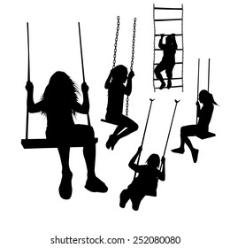 set of silhouette girl on a swing. Vector