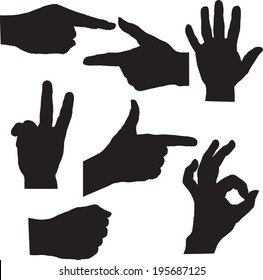 set of silhouette hands, hand drawn vector illustration