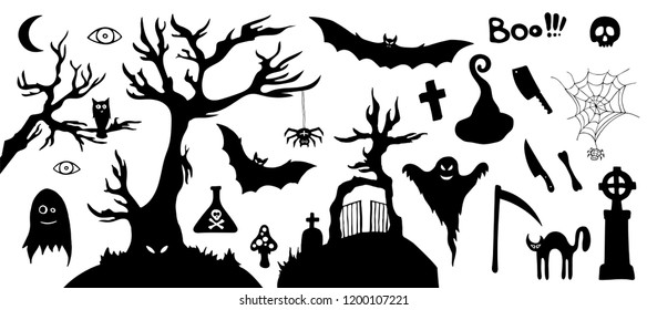 Set of silhouette horror images of a Halloween. Black and white cartoon shapes on Halloween theme. Isolated on white background. Collection of design elements. Vector illustration.