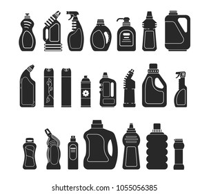 Set silhouette icon different bottle detergent, cleaner spray, air freshener and laundry liquid