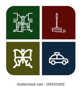 Set of silhouette icons such as Office desk, Mop, Butterfly, Taxi , silhouette