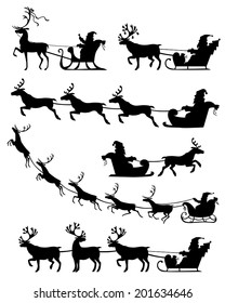 Set of silhouette image of Santa Claus riding a sleigh with reindeer