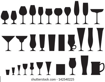 Set of silhouette images of glass glasses for different drinks