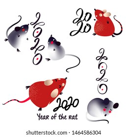 Set silhouette isolate mouse for Happy new year party 2020. Lunar horoscope sign Rat. Funny mouse with long tail. Chinese Happy new year. Smile Mice with 2020.