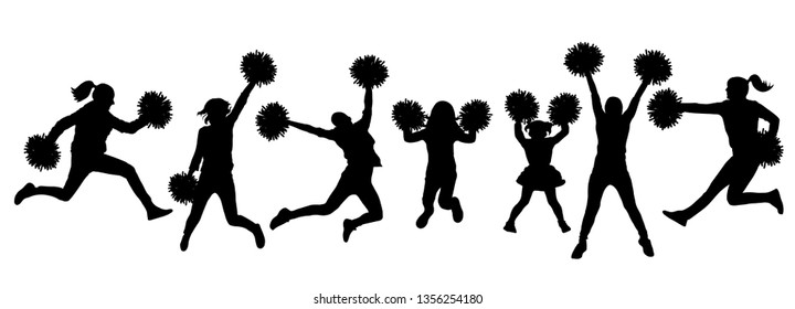 Set of silhouette jumping cheerleaders with pom-poms. Vector illustration