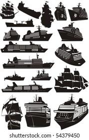 set silhouette miscellaneous type sea naves