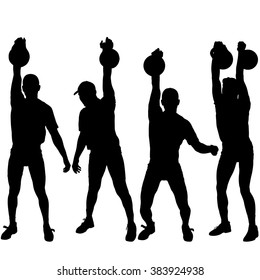Set silhouette muscular man holding kettle bell.  Vector illustration.