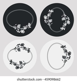 Set of silhouette oval frames with roses. Design elements for graphic backgrounds. Vector clip art.