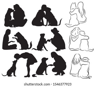 Set of silhouette people with a pet. Collection of woman with a dog. Set of manifestations of love for your pet. Black and white illustration for a veterinarian.