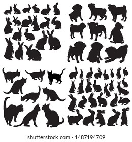 Set silhouette Pets. Dog, Cat, Rabbit. Illustration, vector.