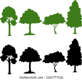Set of silhouette plant illustration