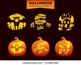 Set Of Silhouette Pumpkin Carving Character Template Bat Mummy Ghost