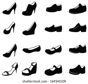 Set of silhouette shoes icon, create by vector
