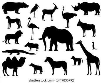 Set silhouette standing african animals. A collection of various animals of Africa. Vector illustration isolated on white, side view.