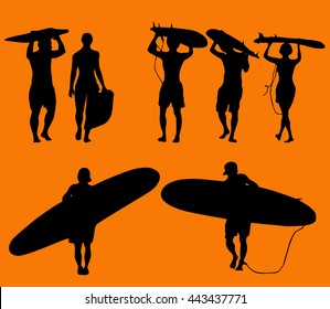 Set of silhouette surfers over orange background
