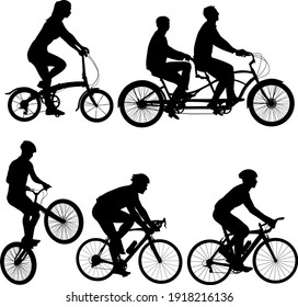 Set silhouette of a tandem cyclist on a white background