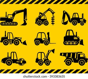 Set of silhouette toys heavy construction and mining machines in a flat style. Different kind of toys heavy equipment and machinery isolated on yellow background. Vector illustration.