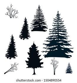 set of silhouette tree, black tree vector design. silhouette design.