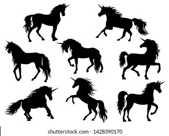 Set of silhouette unicorns. Collection of black and white unicorns. Vector illustration of mythical animals. Figure magic horse. Tattoo.